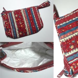 Vintage Quilted Stripe Floral Wrislet Pouch